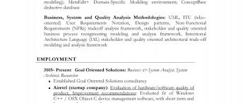 Resume Business System Analyst Architect Researcher