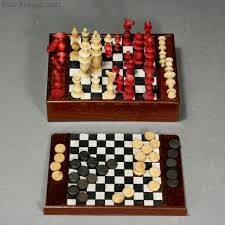 miniature chess and draughts game with bone pieces in original wooden box