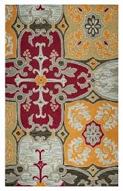 country soft new zealand wool area rug 5 x 8 orange red tan brown grey ornament