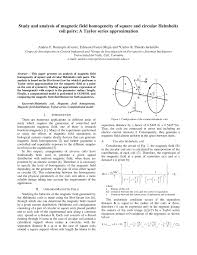 study and ysis of magnetic field geneity of square and circular helmholtz coil pairs a taylor series approximation pdf available