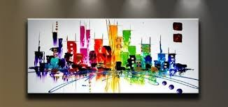 wieco art cityspace large color city 100 hand painted modern canvas wall art abstract oil paintings  on modern canvas painting wall art with wieco art cityspace large color city 100 hand painted modern canvas