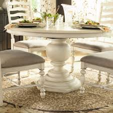 furniture pedestal kitchen table marble round inch pedestals whitewashed farmhouse wayfair dining expandable r glass top