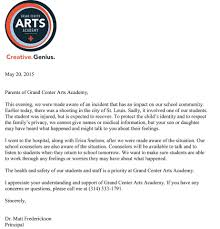 letter from principal matt frederickson grand center arts academy gcaa announcement