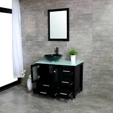 36 bathroom vanity cabinet w vessel sink glass countertop mirror faucet black for