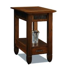 brown high gloss polished oak wood end table with stone accent skirt and storage drawer plus captivating side table
