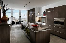Exciting Modern Industrial Kitchen Design With Pendant Lamps And Gray
