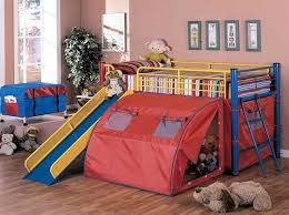 cool beds for kids boys. Bright Colour Double Deck Bed With Slide And Tent For Kids Cool Beds Boys S