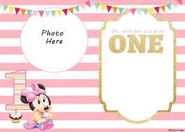 Free Printable Minnie Mouse 1st Invitation Templates Free