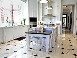 awesome kitchen tile floor design with ornate white kitchen island and classic kitchen cabinet for small kitchen layout ideas