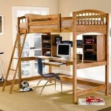 Wood bunk bed with desk underneath 1