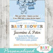 Baby Shower Invitation Cards Blue Clothesline Baby Shower Invitation D151
