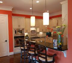 dishy kitchen counter decorating ideas: kitchen wall decoration ideas kitchen traditional with coral walls intense color ina small space floral arrangement