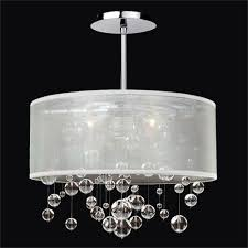 glow lighting silhouette crystal three light pendant with double lined sheer shade