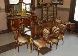 Barock Esszimmer Antik Stil Replikat Vitrine Sideboard Tisch Stühle
