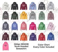 Gildan 18500b Color Chart Every Color Digital File Shirt Color Chart Gildan Heavy Blend Youth Hooded Sweatshirt 18500b Hoodie