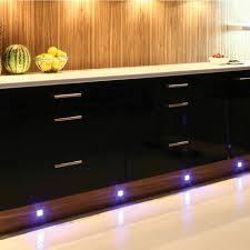led kitchen under cabinet lighting. 4 X LED Kitchen / Under Cabinet Modern Chrome Plinth Light Kit - Blue | QVS Direct Led Lighting