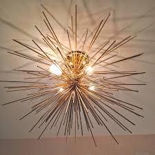 diy modern lighting. Modern Brass Urchin Light Fixture DIY. Instructions On How To Make It From Gorgeous Shiny Diy Lighting