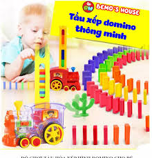 Đồ chơi thông minh cho bé tầu hỏa xếp hình 80 miếng dominotàu hỏa đồ chơi  đồ chơi bé trai