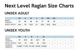 Next Level Kids Size Chart My Favorite Things Raglan