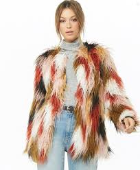 forever 21 multicolor gy faux fur coat 64 90