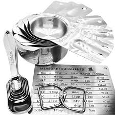 Tuvima Measuring Cups And Spoons Set Of 14 For Accurate Liquid And Dry Measuring Premium 18 8 Stainless Steel 7 Cups And 6 Spoons Plus 1