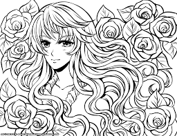 Small Picture Anime Girls Coloring Pages Inside Girl Color Pages esonme