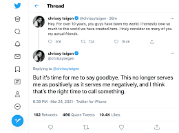Chrissy Teigen deletes her Twitter ...