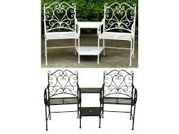 bentley garden heart shaped wrought iron companion seat love seat white or black home done