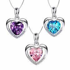 blue heart diamond pendant necklace