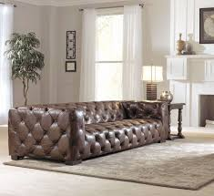 Tufted Living Room Furniture Vintage Chesterfield Leather Tufted Sofa Cigar Brown Color