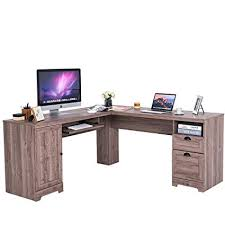 Home office desk corner Bespoke Tangkula Lshaped Desk Corner Computer Desk With Drawers And Storage Shelf Home Puneetsinghinfo Amazoncom Tangkula Lshaped Desk Corner Computer Desk With