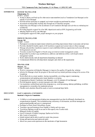 French Resume Examples Translator Resume Samples Velvet Jobs 11