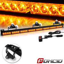 Snow Plow Emergency Lights Foxcid 32 Led Emergency Stroble Light Bar Traffic Advisor Hazard Warning Flashing Light Kit For Snow Plow Vehicles Come With Cigar Lighter And