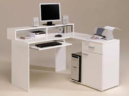 Modern Computer Desks Ideas With White Acrylic Desk Keyboard Drawer And  Hutch ...
