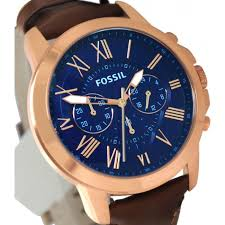 fossil fs5068 grant blue rose gold chronograph analog dial brown fossil fs5068 grant blue rose gold chronograph analog dial brown leather band men watch on big