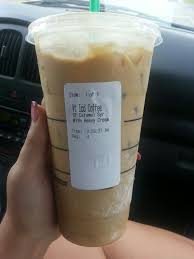 starbucks venti iced coffee sugar free caramel syrup heavy whip 0 carbs 205 calories my favorite