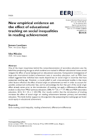 pdf new empirical evidence on the effect of educational tracking on social inequalities in reading achievement