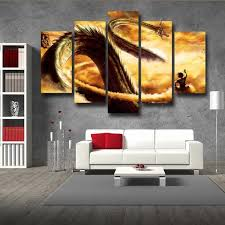 shenron dragon flying nimbus goku 5pc wall art decor posters canvas prints on 5 panel giant dragon wall art canvas with dragon ball super dbz posters art decor canvas prints saiyan