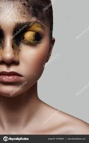 half face of fashion beauty model with makeup stock photo
