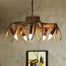 5 cast deer antler chandelier inverted hanging ceiling candelabra lights rustic lighting fixtures