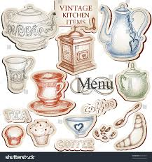 vintage kitchen tools. vintage kitchen tools and food icons vector