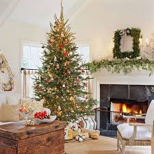 Living Room Christmas Decoration Christmas Living Room Decor Yellow Curtain Wood Frame Fireplace