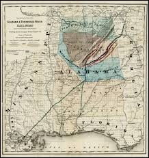 Map showing the Line of the Alabama & Tennessee River Rail Road and its  proposed extensions; Exhibiting also the contiguous Mineral Deposits and  Zones of Production . . . 1867 - Barry