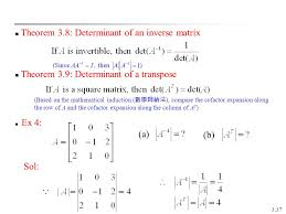 theorem 3 8 determinant of an inverse matrix