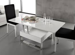 Table Basse Blanc Laqu Relevable Extensible Latablebasse