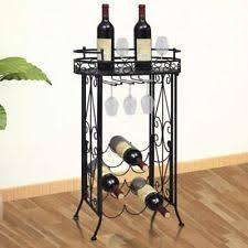wine rack table. Metal Wine Rack For 9 Bottles Glass Holder Hooks W/ Table Plate Display Storage