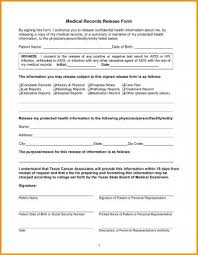 Medical Records Release Form Example Enchanting Release Of Medical Records Form Record Template Nice Gallery