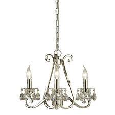 oksana stylish 3 light chandelier in polished nickel finish with crystal droplets ul1p3n