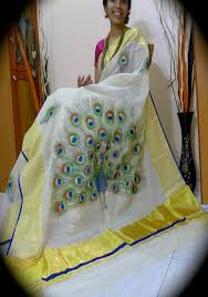 pea paintings on saree photo 20