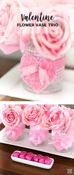 DIY Valentine's Day idea for flower vases using drinking glasses and  fabric. #valentinesDay #